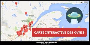 Carte interactive des observations ovnis du Québec
